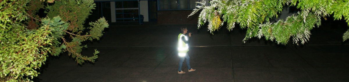 patrolling a school at night